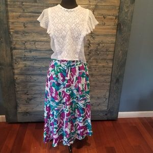 Vintage Rayon Abstract Bright skirt